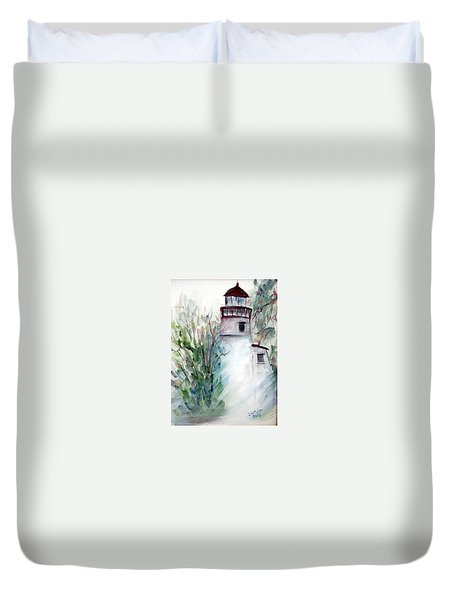 Duvet Cover featuring the painting The Old Lighthouse by Dorothy Maier