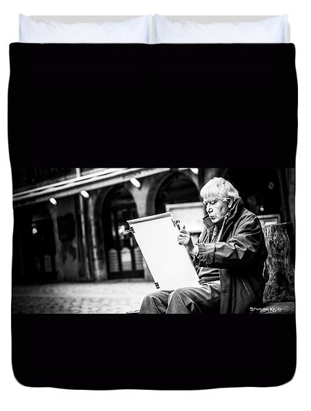 Duvet Cover featuring the photograph The Old Man Painter II by Stwayne Keubrick