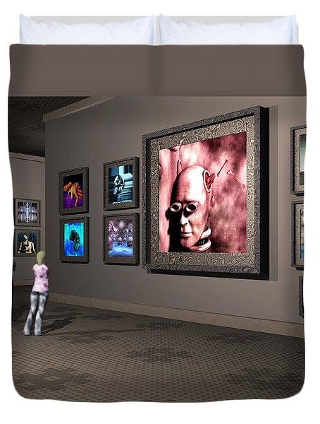 Duvet Cover featuring the digital art The Old Museum by John Alexander