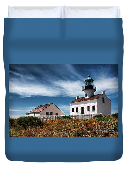 The Old Point Loma Lighthouse By Diana Sainz Duvet Cover