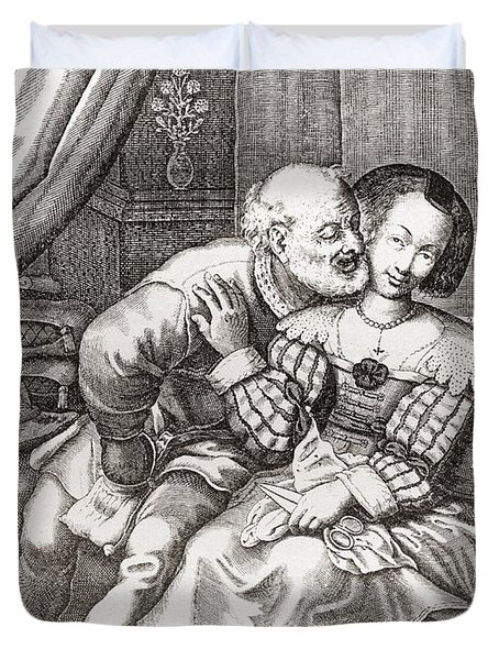 The Old Prurient, After A 16th Century French Engraving By Jaspar Isaac.   From Illustrierte Duvet Cover
