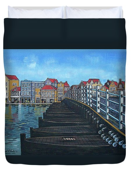 The Old Queen Emma Bridge In Curacao Duvet Cover by Frank Hunter