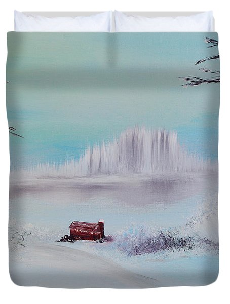 The Old Red Barn In Winter Duvet Cover by Alys Caviness-Gober
