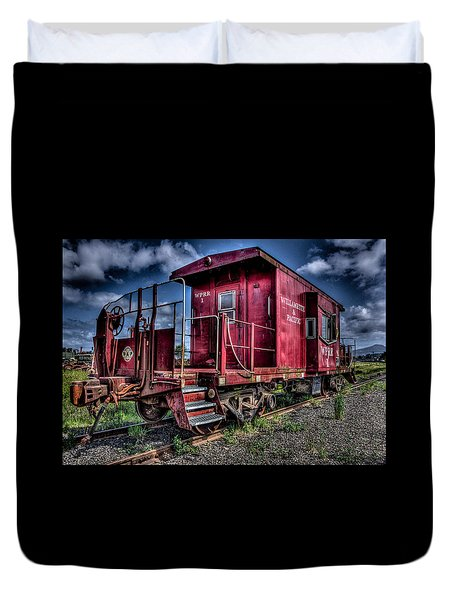 Duvet Cover featuring the photograph Old Red Caboose by Thom Zehrfeld