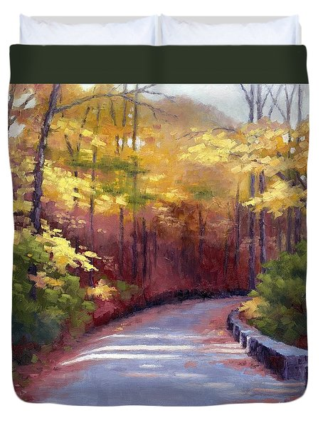 Duvet Cover featuring the painting The Old Roadway In Autumn II by Janet King