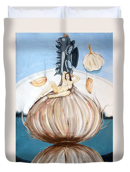 Duvet Cover featuring the painting The Onion Maiden And Her Hair La Doncella Cebolla Y Su Cabello by Lazaro Hurtado