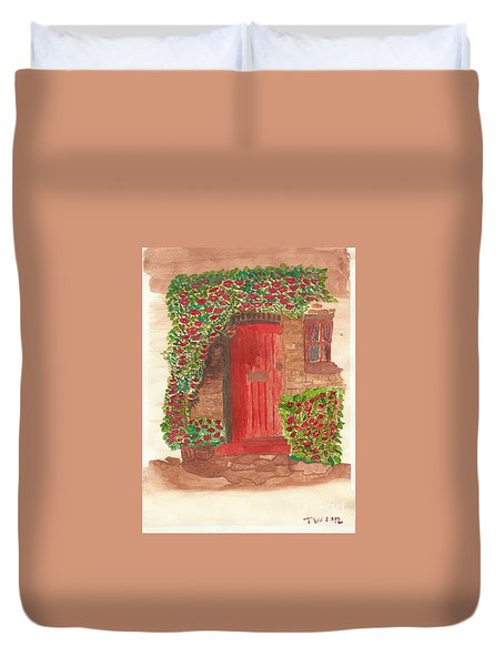 Duvet Cover featuring the painting The Orange Door by Tracey Williams