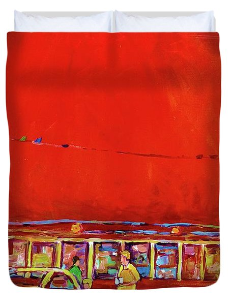 The Orange Julep Montreal Summer City Scene Duvet Cover