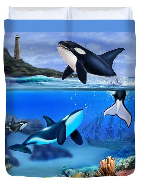 The Orca Family Duvet Cover