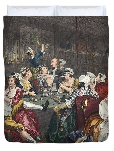The Orgy, Plate IIi From A Rakes Duvet Cover by William Hogarth