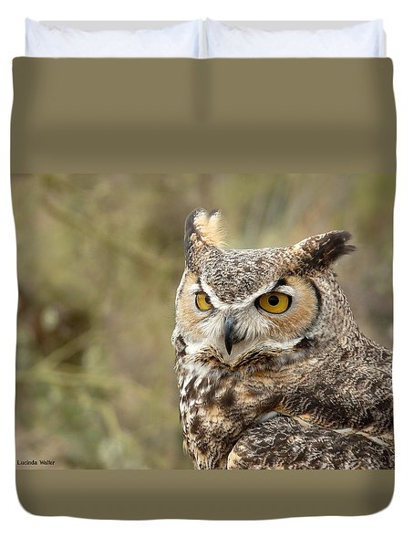 Duvet Cover featuring the photograph The Owl by Lucinda Walter