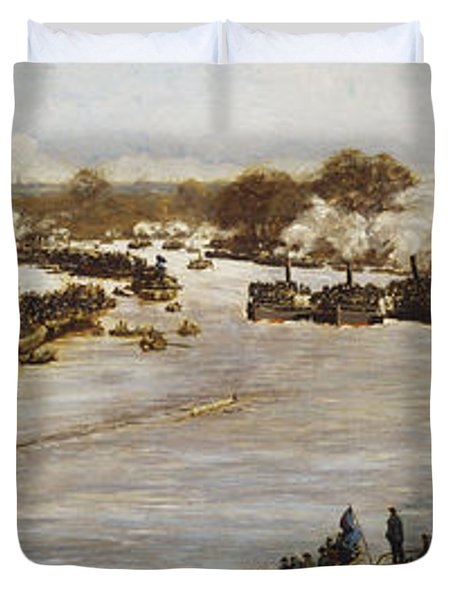 The Oxford And Cambridge Boat Race Duvet Cover by James Macbeth