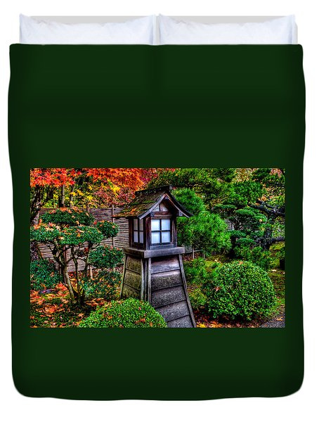 Duvet Cover featuring the photograph The Pagoda At The Japanese Gardens by Thom Zehrfeld