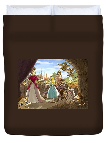 Duvet Cover featuring the painting The Palace Balcony by Reynold Jay