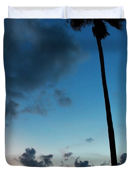The Palm Majestic Sunset Beach Tarpon Springs Florida Duvet Cover