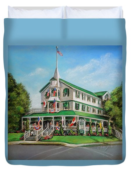 Duvet Cover featuring the painting The Parker House by Melinda Saminski