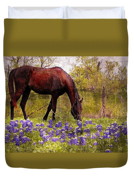 Duvet Cover featuring the photograph The Pasture by Kathy Churchman