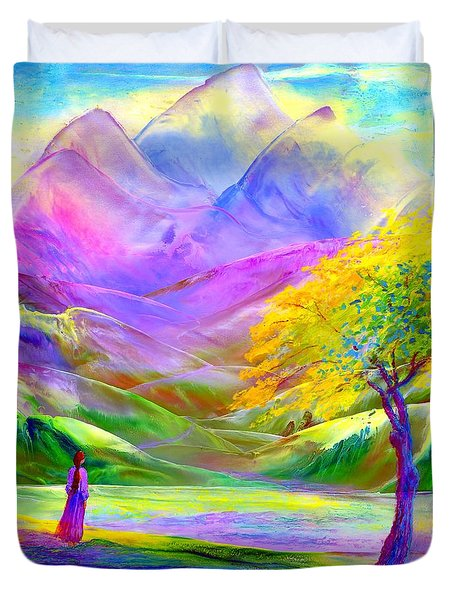 Duvet Cover featuring the painting Misty Mountains, Fall Color And Aspens by Jane Small
