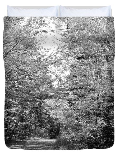 The Path Less Traveled Black And White Duvet Cover by Brett Pelletier
