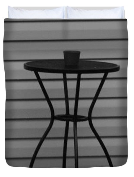 The Patio In Black And White Duvet Cover by Rob Hans