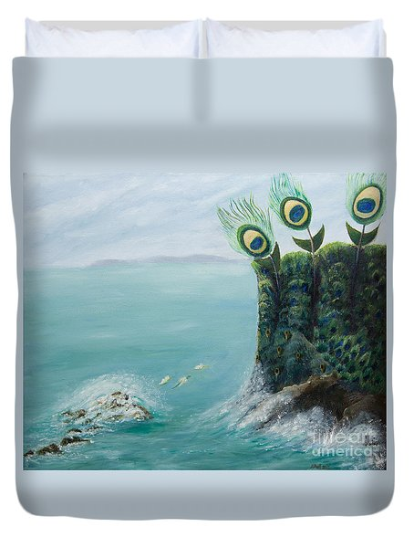 The Peacock Cliffs Duvet Cover