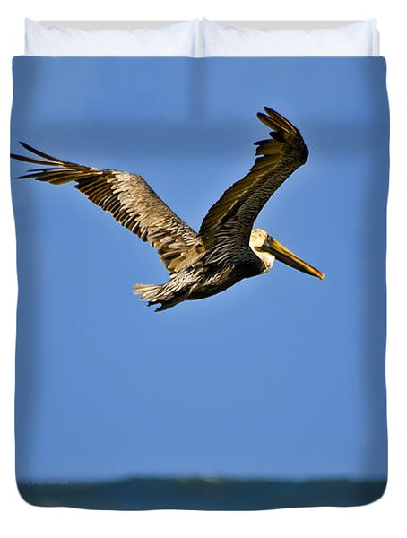 Duvet Cover featuring the photograph The Pelican And The Sea by DigiArt Diaries by Vicky B Fuller