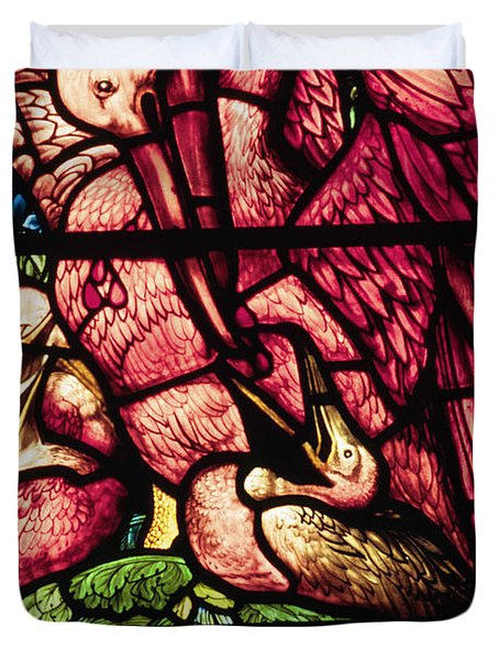 The Pelicans In Stained Glass Duvet Cover