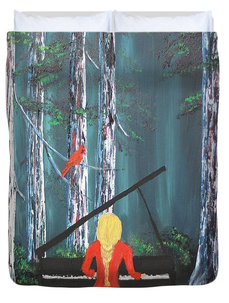 The Pianist In The Woods Duvet Cover