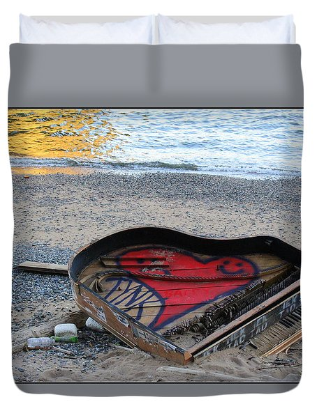The Piano In New York Harbor Duvet Cover by Dora Sofia Caputo Photographic Art and Design