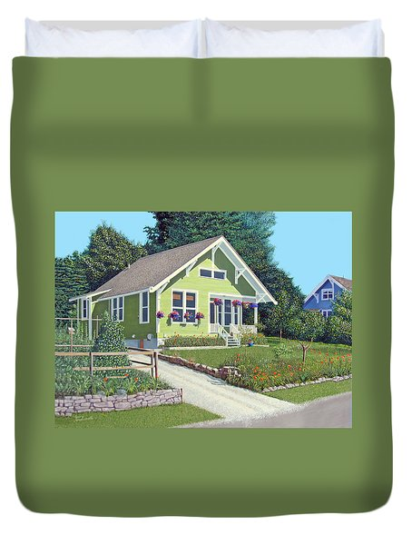 Duvet Cover featuring the painting Our Neighbour's House by Gary Giacomelli
