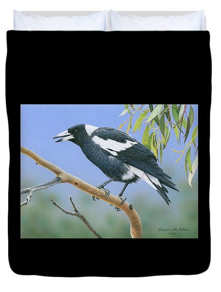 The Pied Piper - Australian Magpie Duvet Cover by Frances McMahon