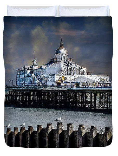 The Pier At Eastbourne Duvet Cover by Chris Lord