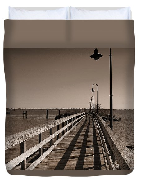 Duvet Cover featuring the photograph The Pier by David Jackson