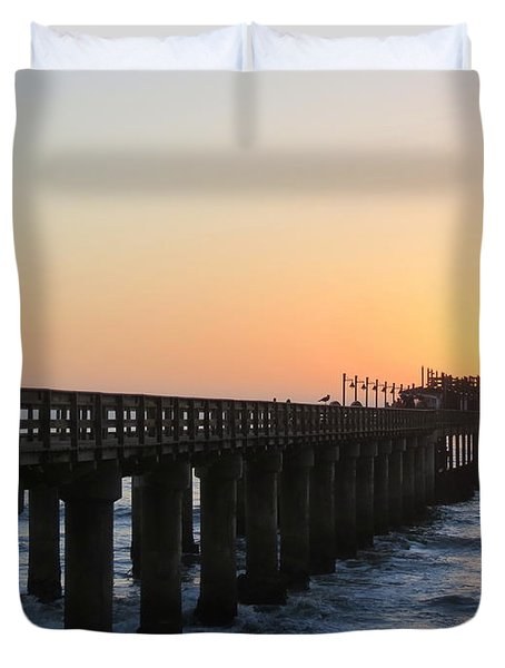 Duvet Cover featuring the photograph The Pier by Ramona Johnston