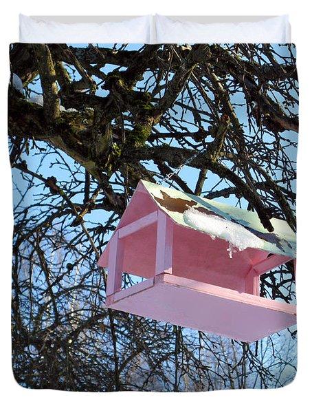 The Pink Bird Feeder Duvet Cover by Ausra Huntington nee Paulauskaite