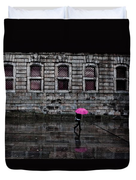 The Pink Umbrella Duvet Cover by Jorge Maia
