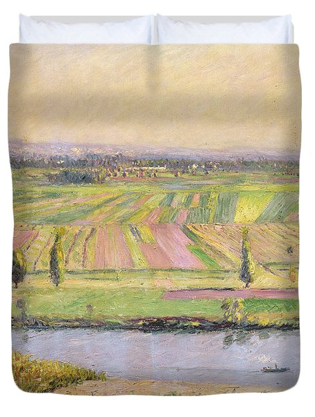 The Plain Of Gennevilliers From The Hills Of Argenteuil Duvet Cover by Gustave Caillebotte
