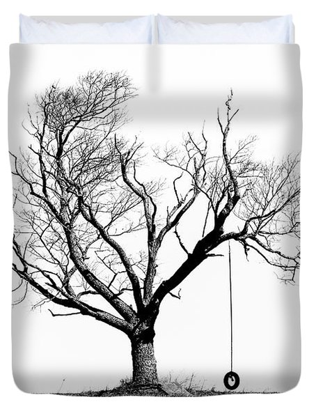 The Playmate - Old Tree And Tire Swing On An Open Field Duvet Cover by Gary Heller