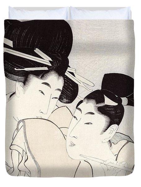 The Pleasure Of Conversation Duvet Cover by Kitagawa Utamaro