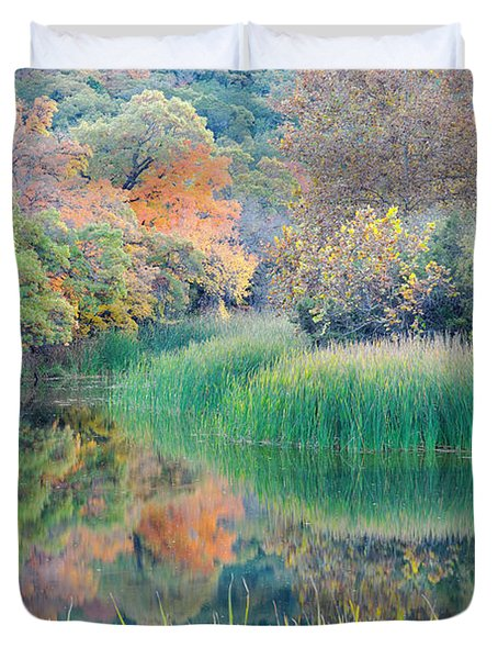 The Pond At Lost Maples State Natural Area - Texas Hill Country Duvet Cover