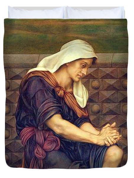 The Poor Man Who Saved The City Duvet Cover by Evelyn De Morgan