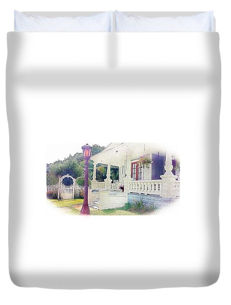Duvet Cover featuring the photograph The Porch Lamp Post And The Gate by Becky Lupe