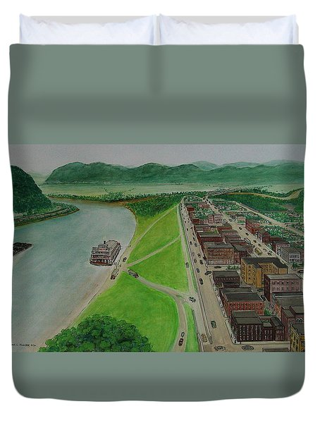 The Portsmouth Ohio Boneyfiddle District 1948 Duvet Cover by Frank Hunter