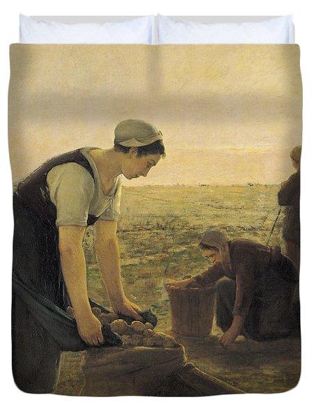 The Potato Harvest Oil On Canvas Duvet Cover