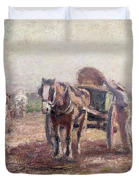 The Potato Pickers Duvet Cover by Harry Fidler