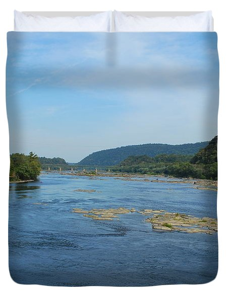 Duvet Cover featuring the photograph The Potomac River At Harper's Ferry by Bob Sample