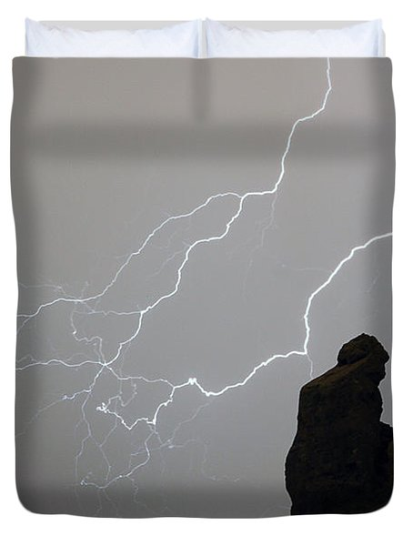 The Praying Monk Lightning Storm Chase Duvet Cover by James BO  Insogna
