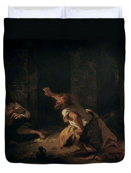 The Prisoner Of Chillon Duvet Cover by Ferdinand Victor Eugene Delacroix