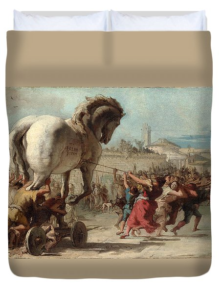 The Procession Of The Trojan Horse Into Troy Duvet Cover