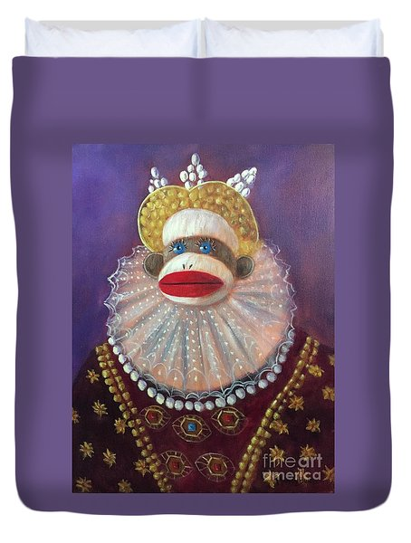 Duvet Cover featuring the painting The Proud Queen by Randol Burns